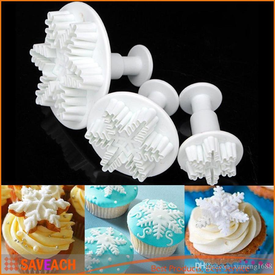 3Pcs / Set 새 3D 플라스틱 눈송이 케이크 커터 금형 Sugarcraft 금형 퐁 당 초콜릿 장식 베이킹 도구