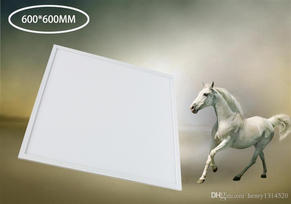 Spedizione gratuita ad alta luminosità 48W 600x600mm LED pannello leggero in lega di alluminio + PMMA 3000-6500K bianco, cornice d'argento disponibile