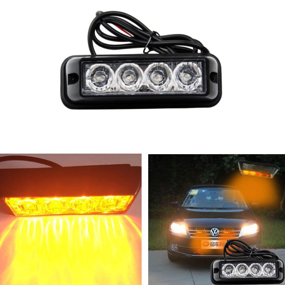 4 LED Car Emergency Beacon Light Bar Hazard Strobe Warning Yellow Amber for Truck SUV
