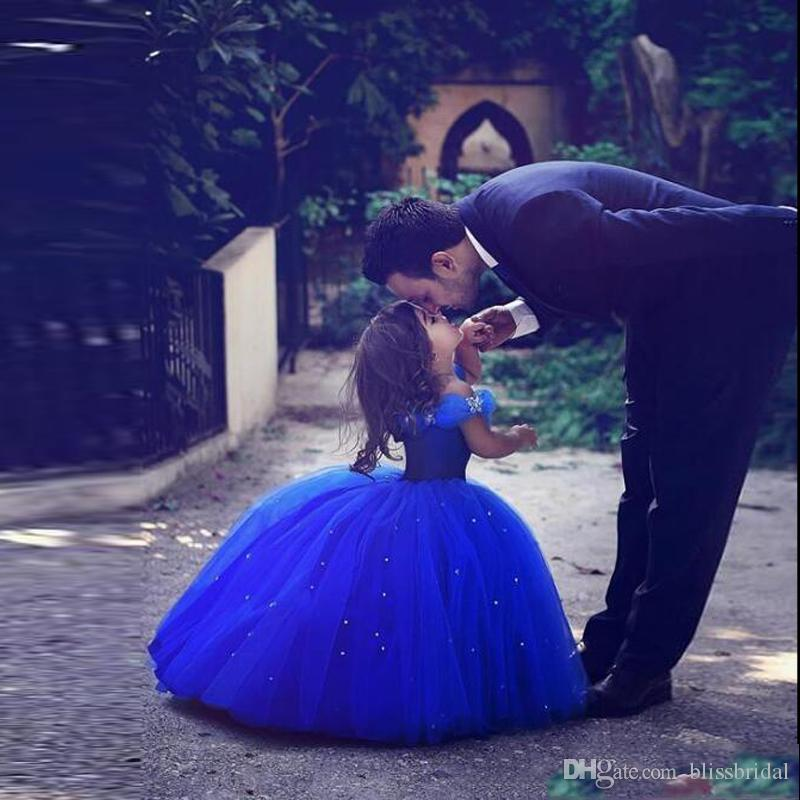 Long Princess Cinderella Flower Girl Dresses Off-the-shoulder Floor Length Ball Gown Blue Kids Pageant Gowns Newest Design Custom Made