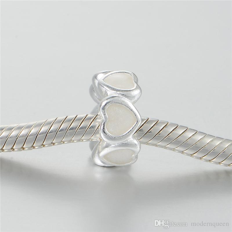 5pcs / lot Genuine spacer S925 sterling silver charms gioielli europei si adattano braccialetti di stile originale abbondanza di amore, smalto argento 791775In2