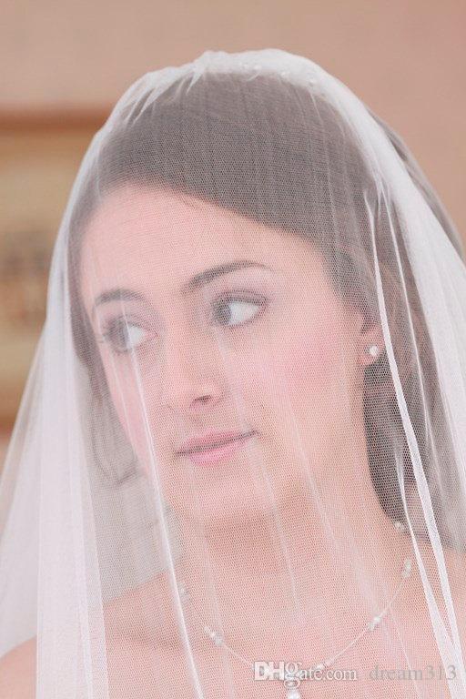 New Top Qualityr Cheap Best Sale Elbow Length White Ivory Line Edge Veil Mantilla Bridal Head Pieces For Wedding Dresses