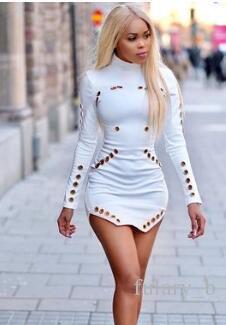 2017 가을 최신 인기 여성 캐주얼 드레스 중공업 섹시한 타이트 Bodycon 미니 스커트 긴 소매 의류