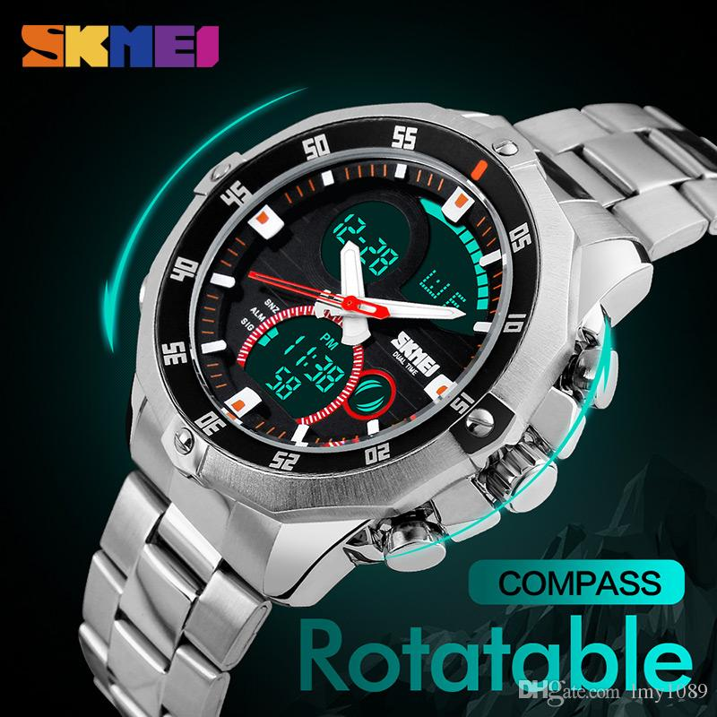 2017 hot buy SKMEI compass men's sports watch world time summer time watch countdown chronograph waterproof digital watch
