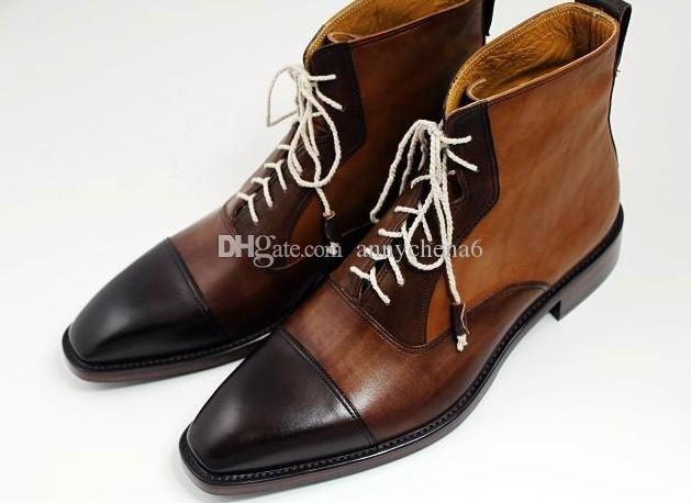 bottes pour hommes chaussures faites main à la main genuie bottes en cuir de veau avec lacets couleur marron foncé HD-B011