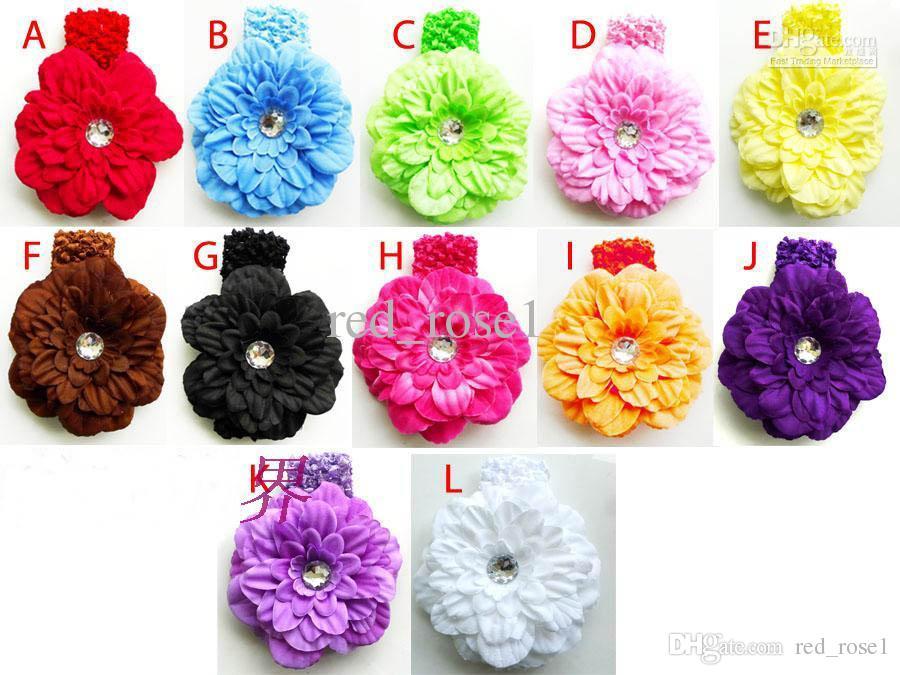 """Bonne vente bébé filles pivoine fleur clip + 1,5 """"Bandeau sets ensembles d'enfants accessoires pour enfants vêtements pour enfants"""