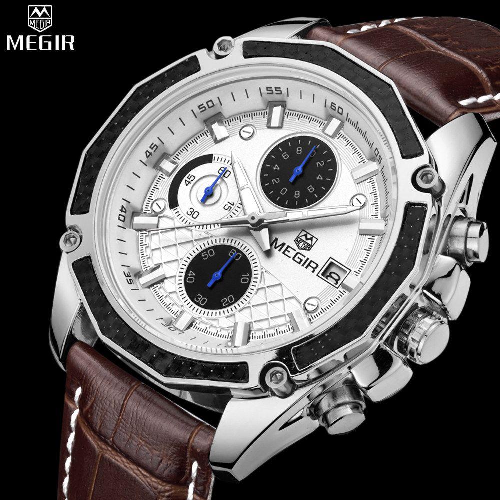 Authentiques montres hommes de quartz MEGIR en cuir véritable montres hommes de course étudiants jeu