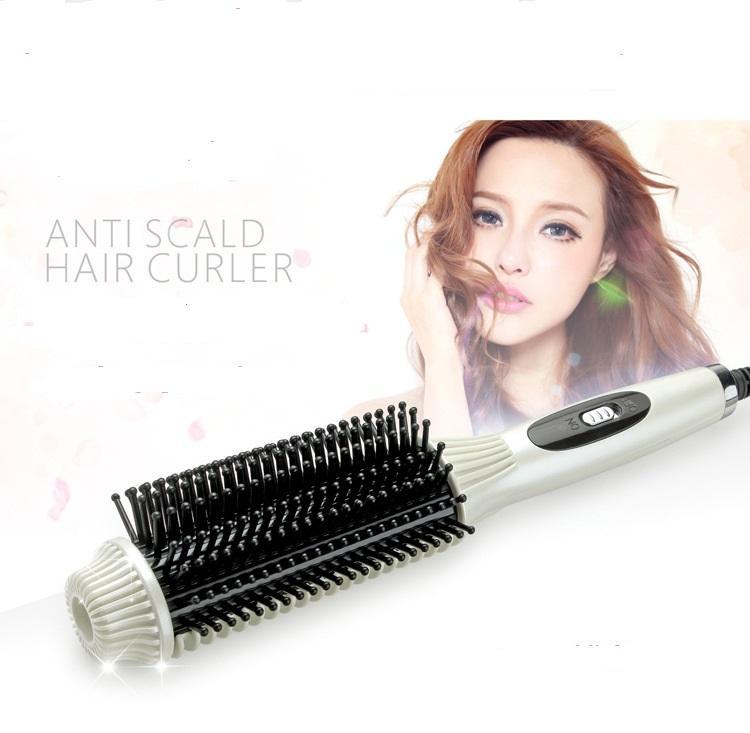 2 en 1 brosse à cheveux à rouleaux de fer recourbe brosse peigne cheveux lisseur rapide électrique professionnel redressant curling peigne de fer