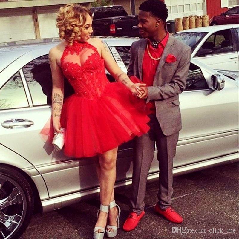 Red Sexy Halter Homecoming Sukienki z czystym dekoltem koraliki odsłonięte boning krótkiej imprez sukienka tanie Tutu Tulle Mini spódnica Formalna sukienka
