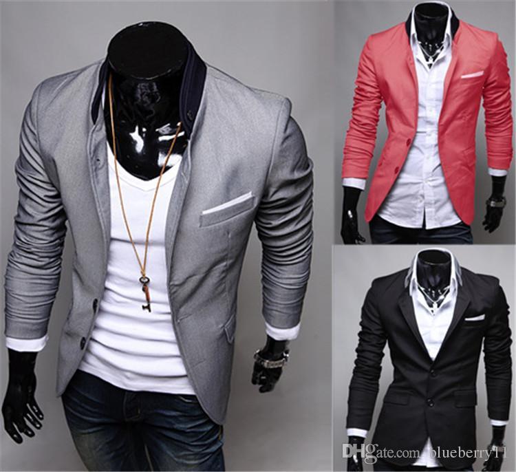 Мода Зима Черный Красный Серый Мужская Повседневная Одежда Хлопок С Длинным Рукавом Повседневная Slim Fit Стильный Костюм Blazer Пальто Куртки