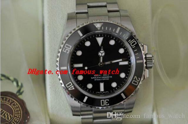 Luksusowe zegarki Nowy 114060 Sapphire Nie-Data Ceramiczna Bezel Czarny Ze Stali Nierdzewnej Bransoletka Automatyczne męskie zegarki męskie