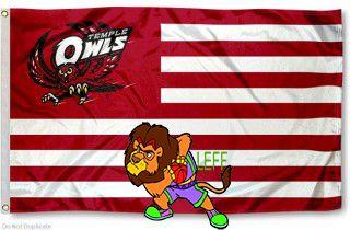 Temple drapeau Owls avec 2 grands ventilateurs métal oeillets Supporters extérieur intérieur Bannière 5x3ft