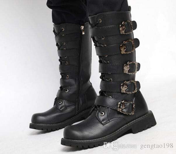 new selection pick up elegant in style Mens Buckles Lace Up Black Knee High Boots Motercycle Combat Boots Shoes  High Heels Heels From Gengtao198, $68.35| DHgate.Com