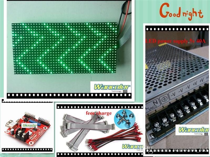 무료 배송 공장 가격 20pcs p10 야외 LED 스크롤 디스플레이 녹색 색상 p10 디스플레이 모듈 + 2pcs 전원 공급 장치 + 와이파이 컨트롤러