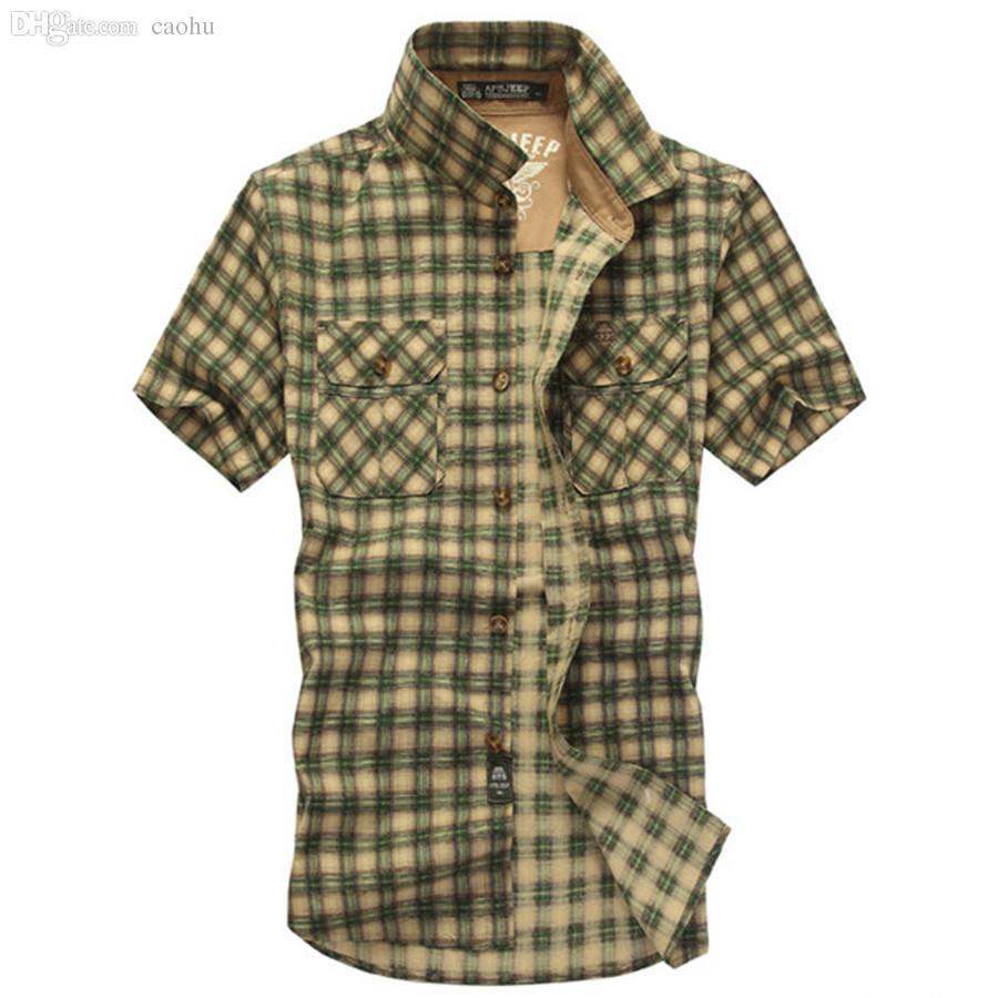 Großhandels-Baumwollkariertes Hemd-Mann-Marken-Kleidungs-Kurzschluss-Hülsen-Sommer-Hemd Chemise Homme beiläufiger loser Art-Sport-Gymnastik-Kleidung S5567