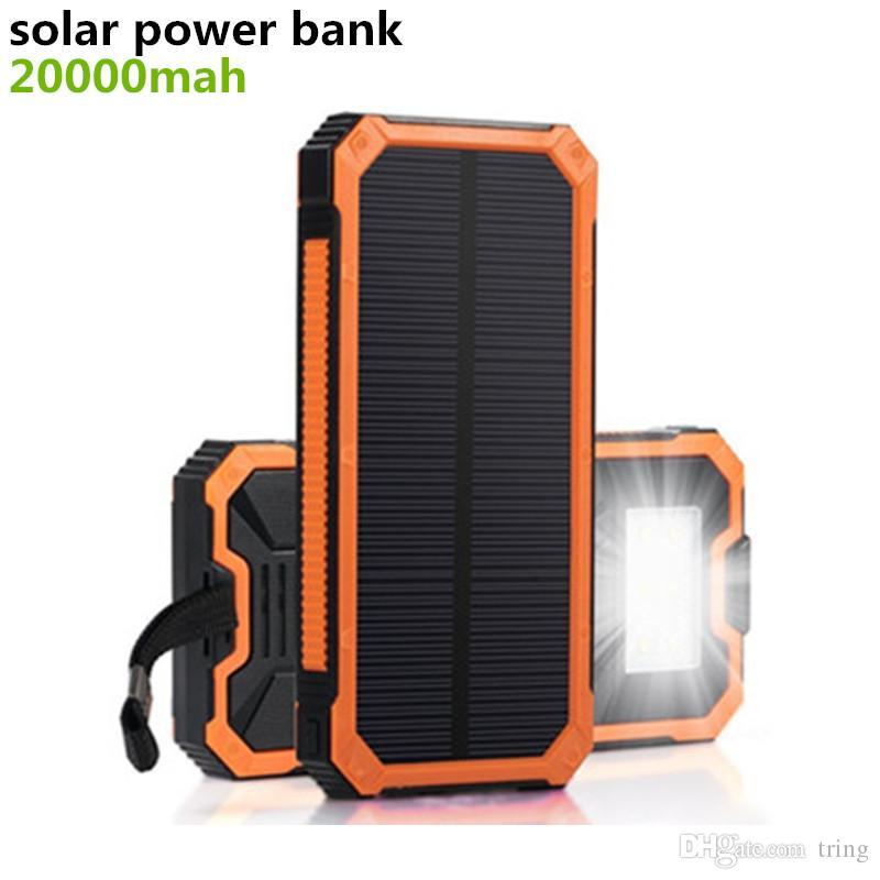 Nuevo banco de energía solar 20000 mah Cargador solar Impermeable Batería Externa Dual USB Camping Powerbank Cargador de batería portátil Luz LED