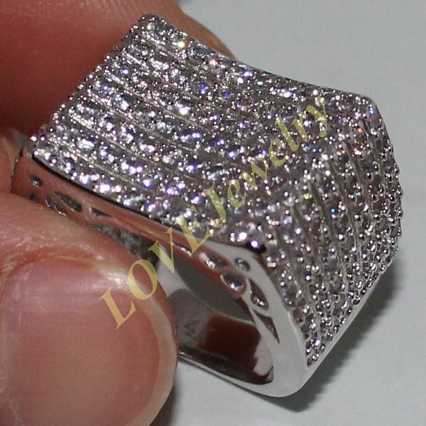 Eternity 14K oro bianco riempito rotondo simulato diamante diamante cz pave set anello cinturino da sposa per le donne