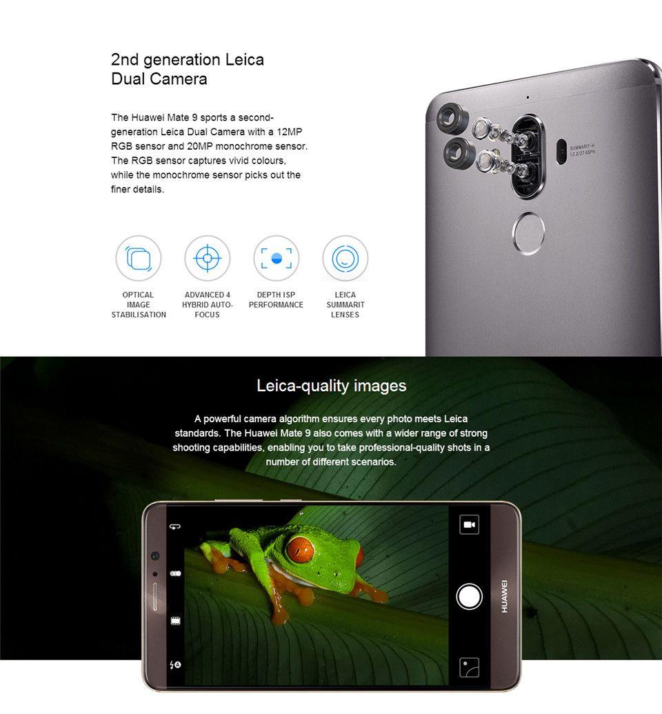 Best Original Huawei Mate 9 4G LTE Mobile Phone Kirin 960 Octa Core 6GB RAM  128GB ROM Android 7 0 5 9 2 5D Glass 20MP Fingerprint NFC Cell Phone
