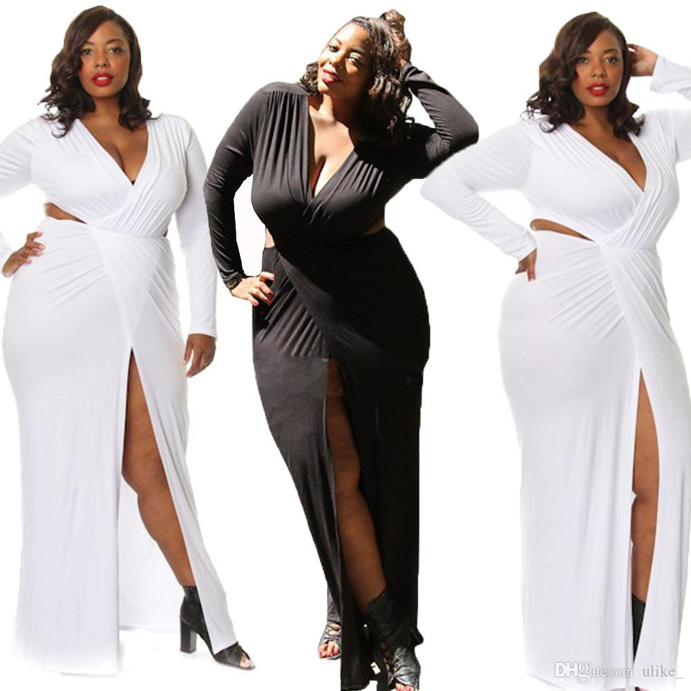 큰 사이즈 드레스 순수한 섹시한 Se 깊은 허벅지 분할 긴팔 드레스 스커트 섹시한 나이트 클럽 드레스