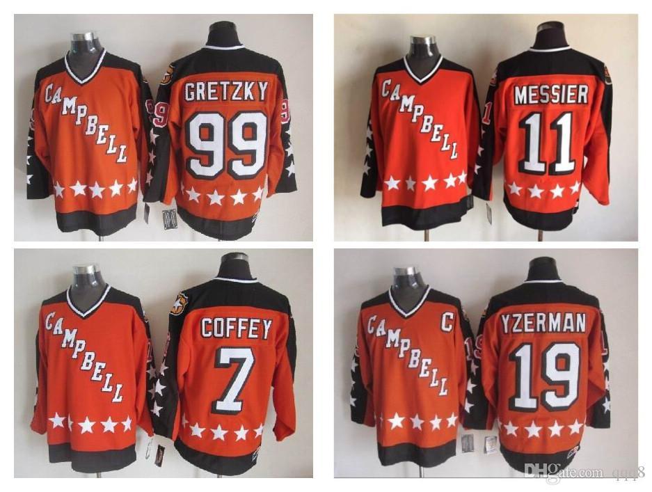 Hokey Jersey 1984 All Star Campbell # 19 Steve Yzerman # 11 Mark Messier # 99 Wayne Gretzky # 7 Paul Coffey CCM Retro Dikişli Jersey