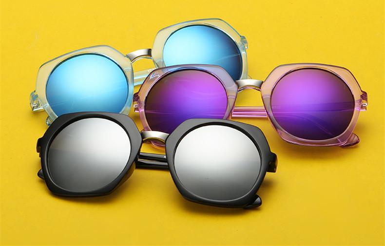 새로운 10 PC는 / 많은 여성 사이즈 선글라스 라운드 다채로운 반사 코팅 일 안경 아이웨어 11 색상 무료 배송