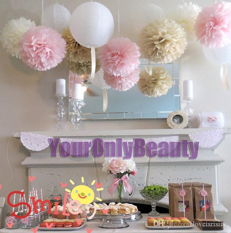 """Buy 10pcs get 10pcs Free--20 Colors 38cm (15"""") Tissue Paper Pom Poms Wedding Party Decor Flower Balls For Baby Shower Favors Decor"""