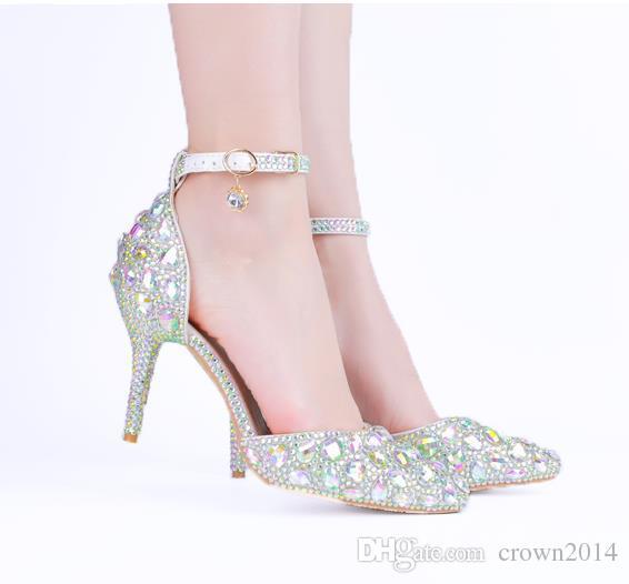 Мода серебряные кристаллы Свадебная обувь 3 дюйма середины пятки Rhinestone Свадебная обувь с Toe Strap Пром обувь для женщин Бесплатная доставка