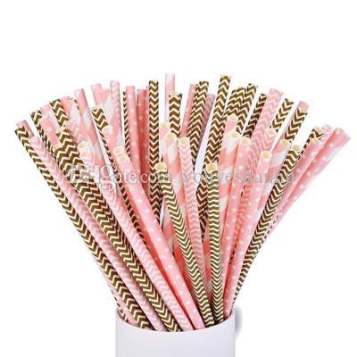 Assorted 4 colori differenti Cannucce di carta all'ingrosso per la decorazione della festa nuziale
