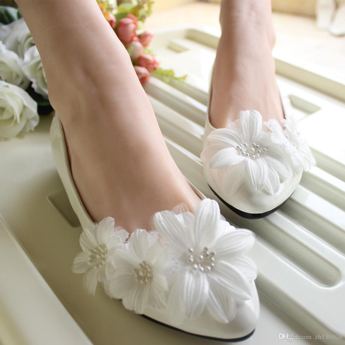 HOT Lace white crystal Wedding shoes Bridal flats low high heel pump size UK