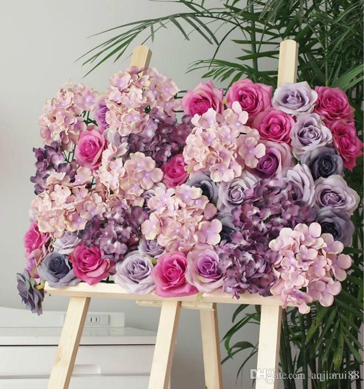 10pcs/lot (60x40cm)High Quality Hydrangea Rose Flower Wall Wedding Backdrop Fantastic Floral Backdrop Arrangements Free Shipping