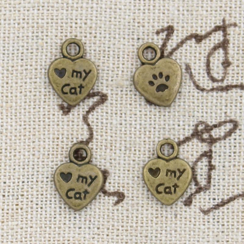 Encantos del corazón de 300pcs encanta mi gato 12 * 9m m que hace pendiente pendiente de la fabricación, bronce tibetano del vintage, collar de la pulsera de DIY