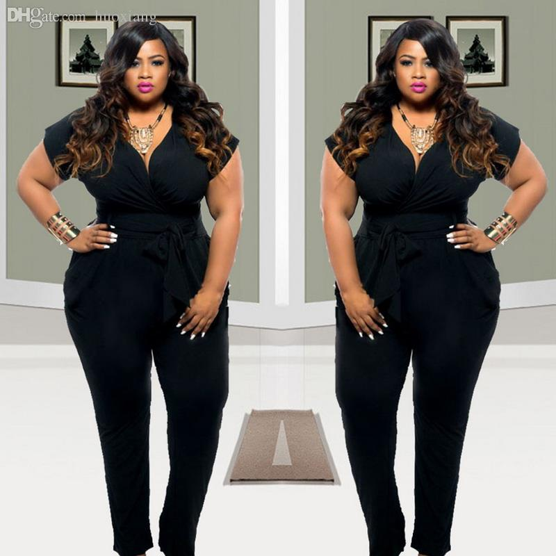 marketable classic style of 2019 attractive style 2019 Wholesale 2016 Plus Size Women Clothing Rompers Womens Jumpsuits Short  Sleeves Loose Black Full Length Jumpsuit Hot Sale 3XL From Huoxiang, $25.9  ...