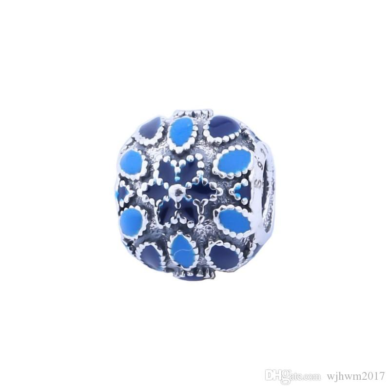 New Blue Smalto Cattedrale Rosa Charms Floreale di Alta Qualità Reale 925-Sterling-Sliver Fiore Fai Da Te Per Monili Europei Fare HB249