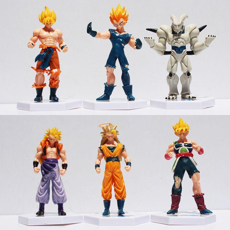 Envío acción animado Dragon Ball Z Goku Super Saiyan Vegeta Gotenks Buu PVC Figuras de Acción Juguetes 6pcs / set 12Cm Aprox gratuito