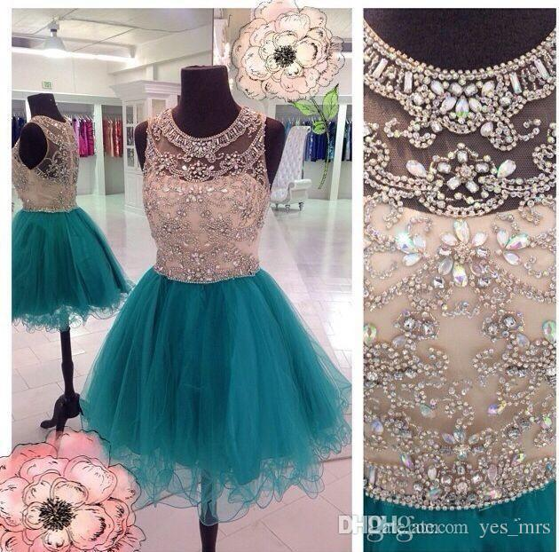 New Sexy Short Homecoming Dresses Jewel Illusion Neck Teal Hunter Tulle Crystal Beaded Prom Party Dress Graduation Formal Cocktail Gowns