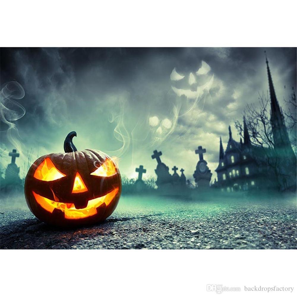 Tema de Halloween Abóbora Lanterna Festa Fotografia Pano de Fundo Tecido de Vinil Gloomy Noite Castelo Crianças Crianças Foto Estúdio de Fundo