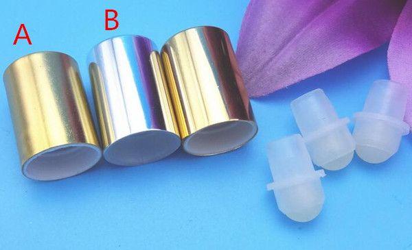 tappo in alluminio color argento per bottiglia di palla roll 1ml 2ml 5ml 10ml 15ml Bottiglie di profumo di oli essenziali