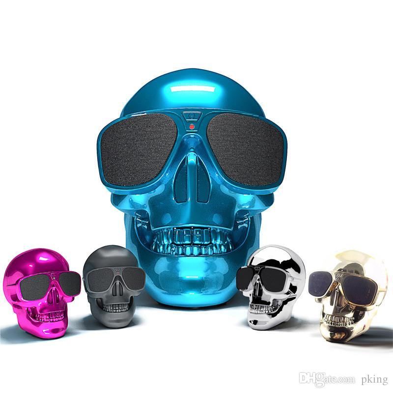 Plastic Metallic Skull Shape Wireless Bluetooth Speaker Sunglass NFC Skull Speaker Mobile Subwoofer Multipurpose Speakers Cool