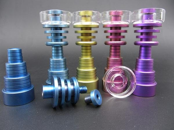 Highly quality Colorful Domeless Hybrid Titanium Nail With Quartz Bowl Titanium Nails 10mm 14mm 19mm Female Male Joint Quartz Banger Nail