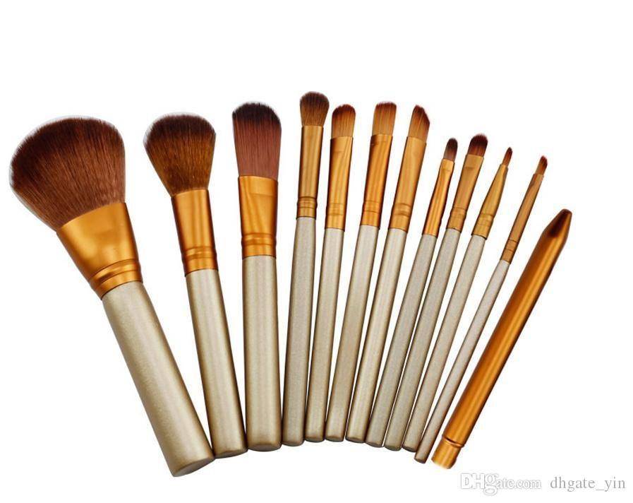 Hot 12 PCS Makeup Brushes Cosmetic Facial Make up Brush Tools Makeup Brushes Set Kit With Retail Box Free shipping