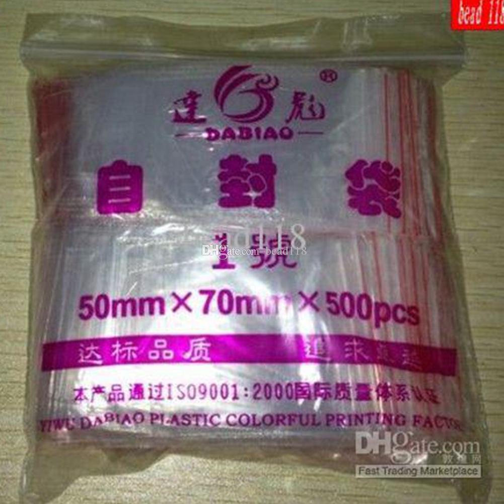 MIC 500 PCS / PACK Sieraden Tassen Ziplock Plastic intrekbare blok Duidelijke opbergzakken Dikte 0.12mm