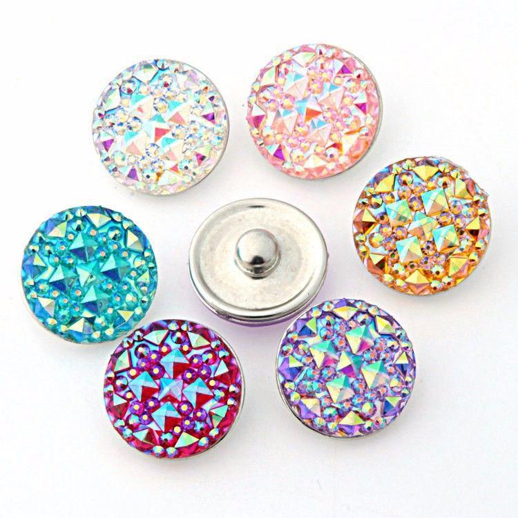 50pcs / lot de alta qualidade Sete cor Rodada gengibre resina encaixar Rodada de vidro snaps Pulseiras encaixar 18 milímetros encaixe botões de jóias