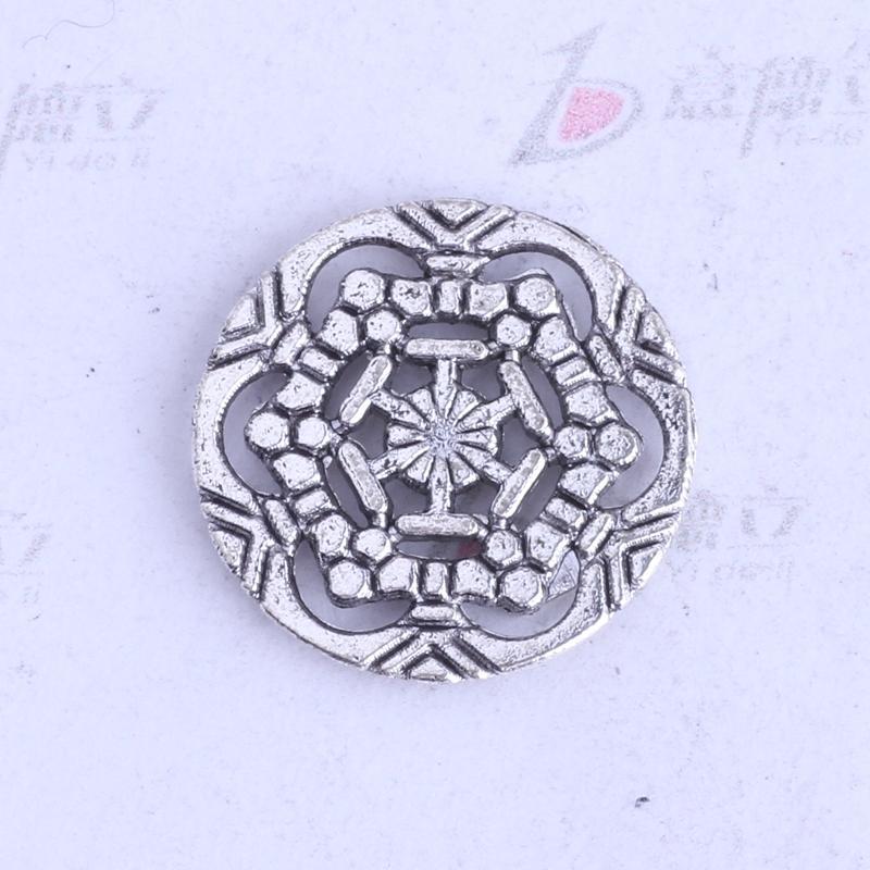 antiguos encantos de copo de nieve de plata / bronce flor colgantes tallados joyería de aleación de zinc DIY 350pcs / lot 3461