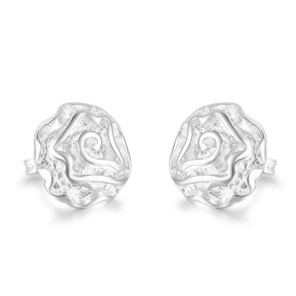 Special Offer 15mm Rose Flower Charm Earrings Ear Studs in 925 Sterling Silver