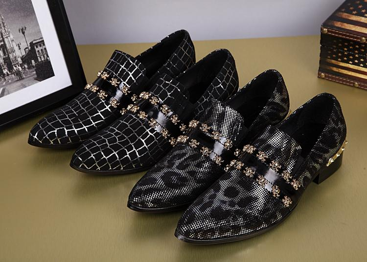 High Quality Korea Man Shoes Sliver Plaid Black Metla Skull Leopard Prints Casual Oxfords Man Fashion Trend Rivets shoes