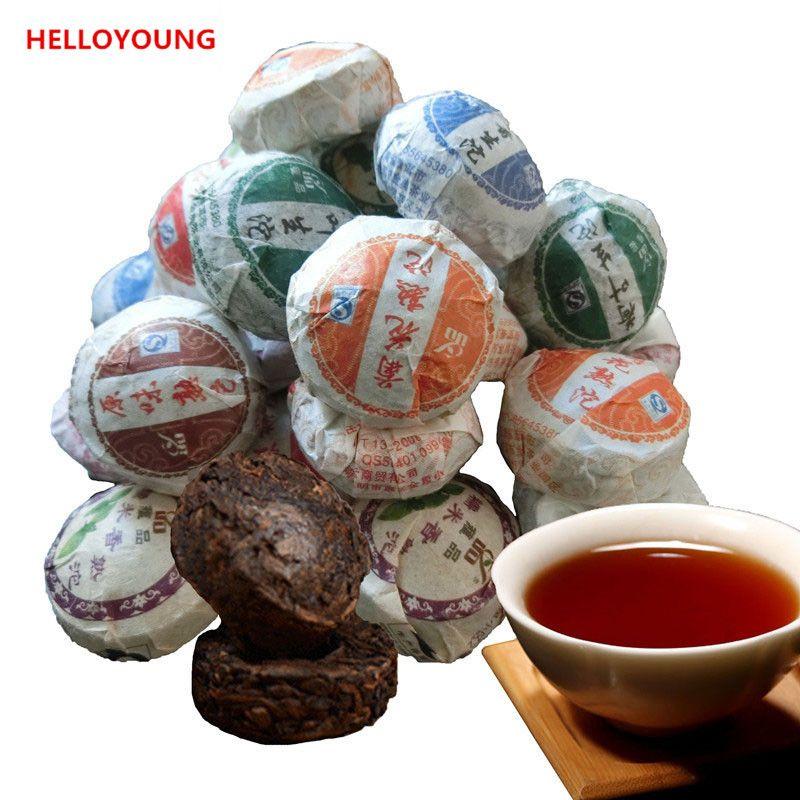 De preferencia 50 g de Yunnan de primera calidad 10 piezas de diferentes sabores de té de Puer RawRipe Puer Tuocha orgánicos naturales; er más antiguo árbol verde Puer