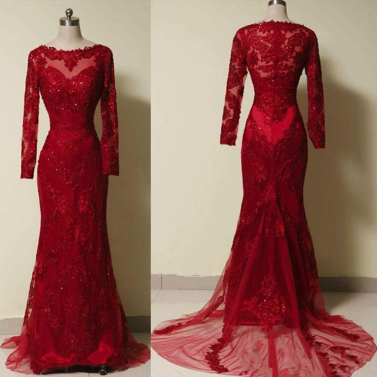 2019 New Style Lace Red Prom Dresses With Long Sleeves Beaded Bodice Pretty Mermaid Evening Floor Length Prom Dress