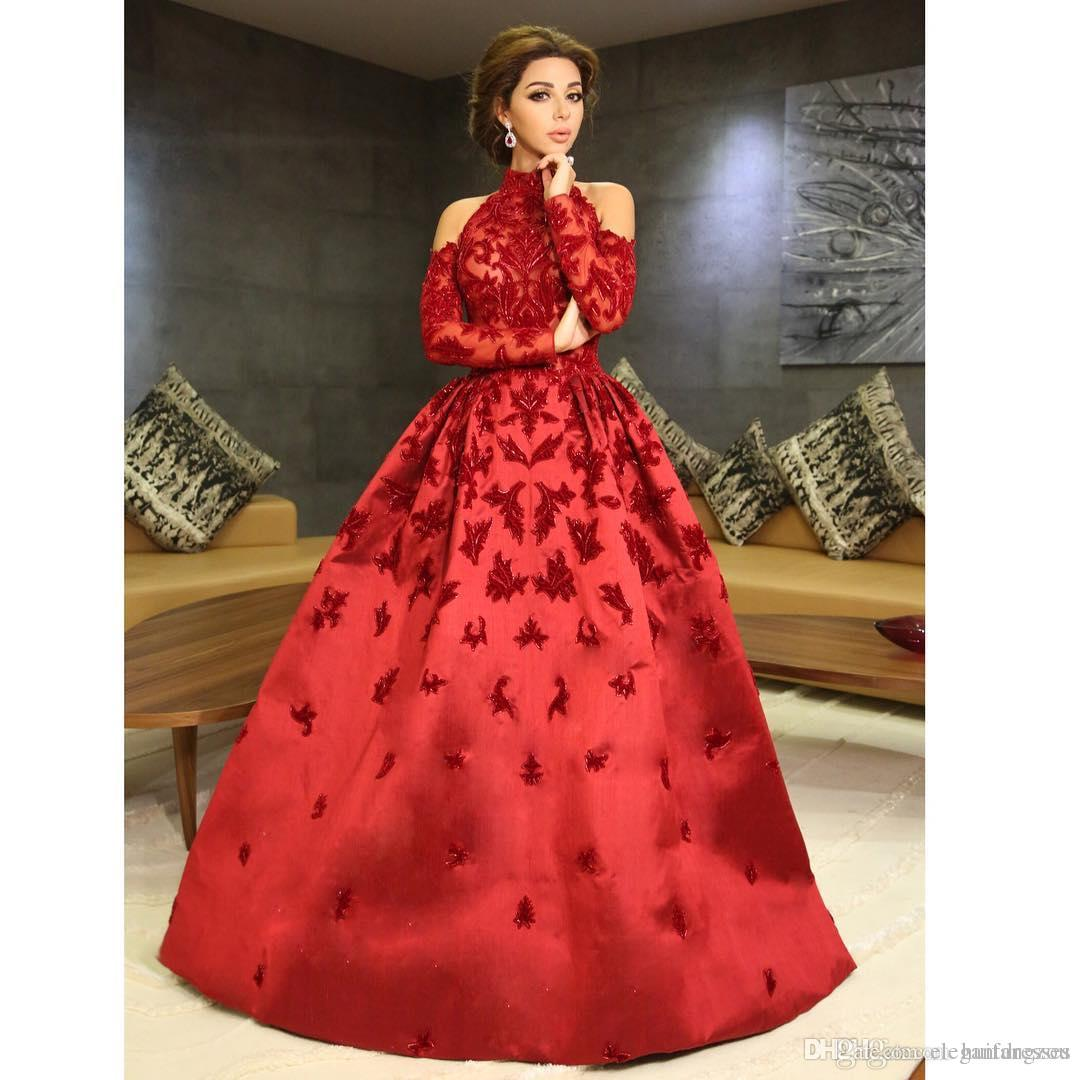 2021 abiti nuovi di sfera colore rosso del manicotto pieno perline Bling africana lungo su ordine dell'alto collo lungo del partito di sera Prom