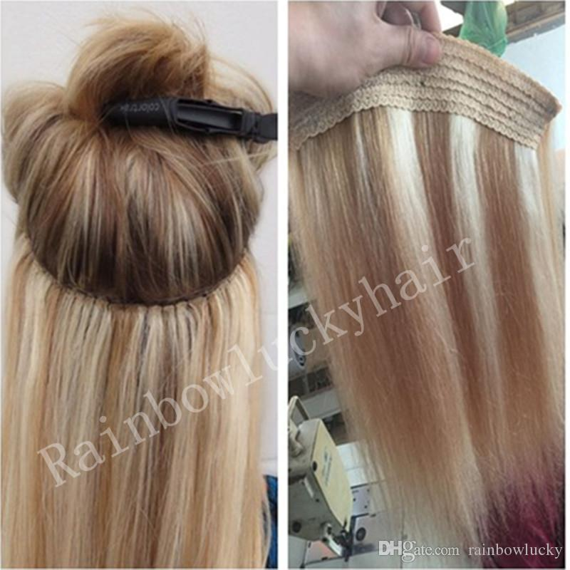 Brazilian Human Hair No Clips Halo Flip In Human Hair Extensions