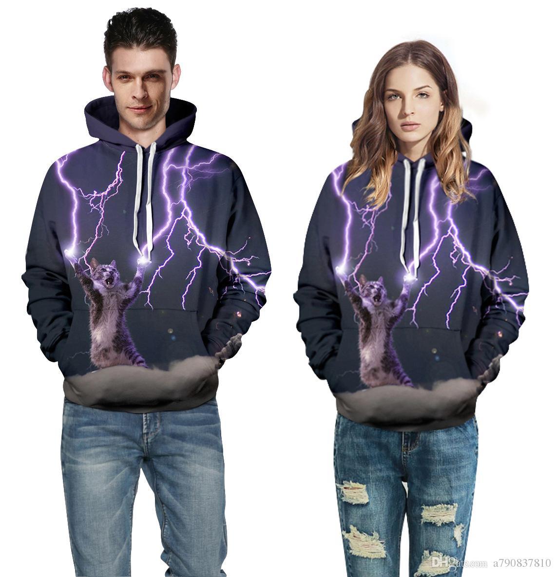 Les amoureux de l'automne et de l'hiver qui vendent des vêtements chauds portent des pulls à capuche, de nouveaux produits en gros, des vêtements de loisirs à impression digitale pour chat, dix types de couleurs